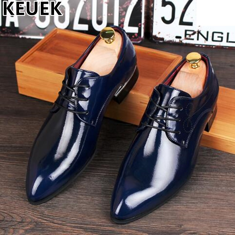 British style Men Dress shoes Split Leather Flats Pointed toe Casual Fashion Brogue Shoes Spring/Autumn Male Oxfords shoes 022 british style men oxfords spring winter lace up flats pointed toe creepers casual men platform high dunk genuine leather shoes