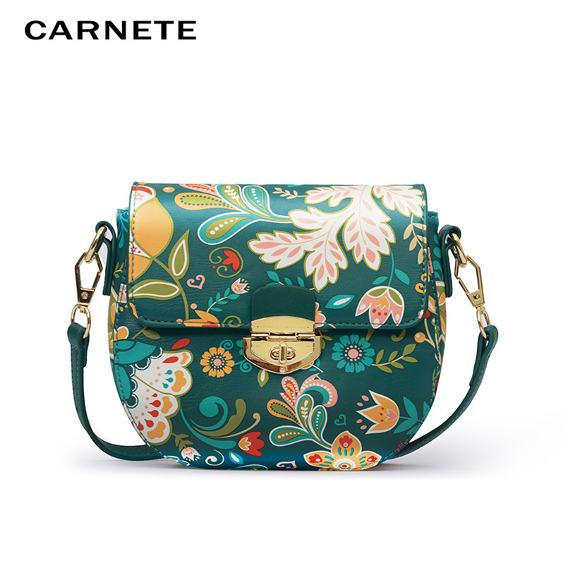 CARNETE Female Fashion PU Leather Shoulder Bag Women 39 s Handbag Solid Crossbody Messenger Women 39 s Bags Flower interchangeable2019 in Top Handle Bags from Luggage amp Bags