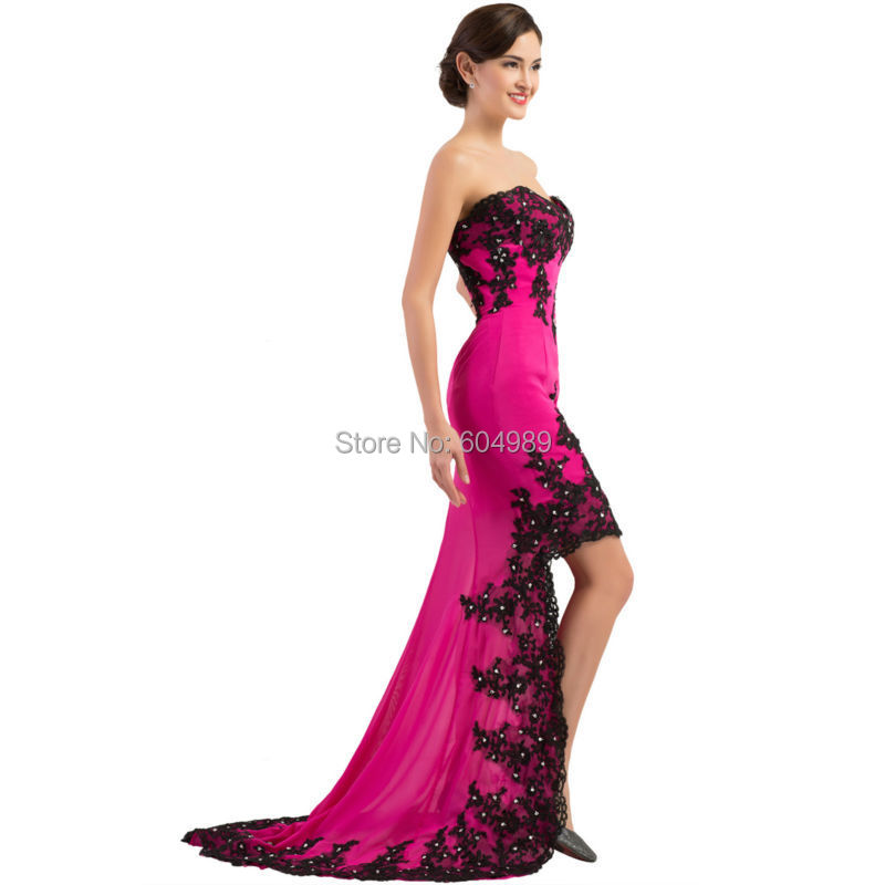 2015 Grace Karin Pink Front Short Long Back Sexy Black Lace Gown