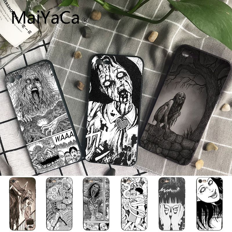 Maiyaca Junji Ito Tees Horror Soft Silicon black Phone Case for iPhone X XS MAX 6 6S 7 7plus 8 8Plus 5 5S XR(China)