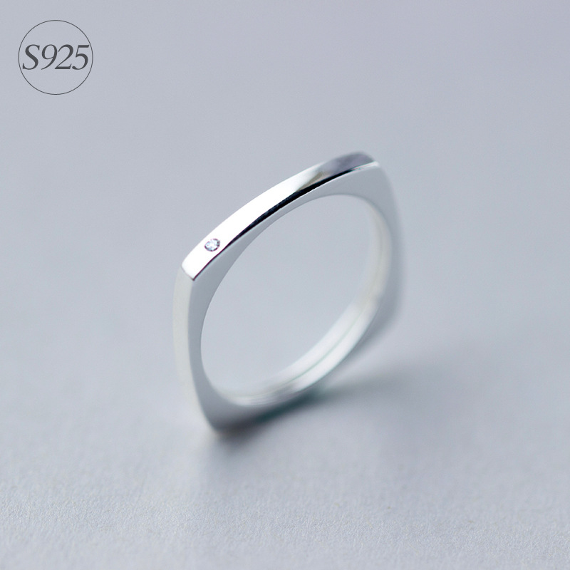 Women s Real 925 Sterling Silver jewelry Square Round Ring CZ White geometric jewelry GTLJ848 fashion