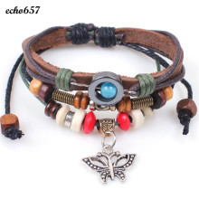Echo657 High Quality Fashion Butterfly Braided Wooden Bead Wrist Bracelet Leather Jewelry Oct 29