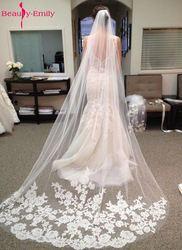 Beleza Acessórios de Noiva emily 2018 Apliques Tulle Longo Casamento Catedral Veil Lace Borda Véu De Noiva com Pente véu de noiva