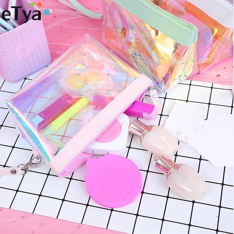 ETya Women Waterproof Travel Cosmetic Bag Transparent Organizer Laser Zipper Small Large Make Up Bag Beauty Toiletry Case
