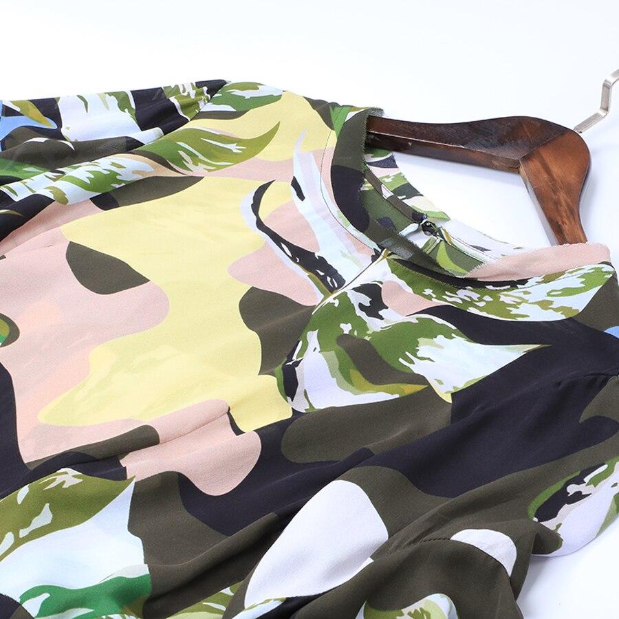 Kadın Giyim'ten Elbiseler'de AELESEEN Yüksek Kaliteli Ipek Elbise 2019 Bahar Yaz Yeni kadın Kısa Kollu Ruffles Düzensiz Baskı Kamuflaj Elbise'da  Grup 3