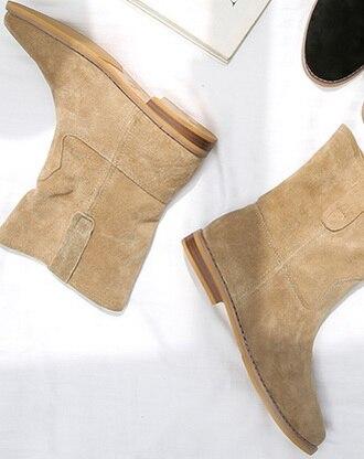 PRICHICELLA 2018 di vendita caldo della ragazza camoscio nero appartamenti a metà polpaccio stivali donne del cuoio genuino stivaletti invernali - 5