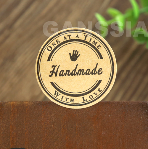 100pcs lot size38mm kraft handmade sticker with love round gift seal stickers for handmade products ss a1005 in stationery sticker from office school