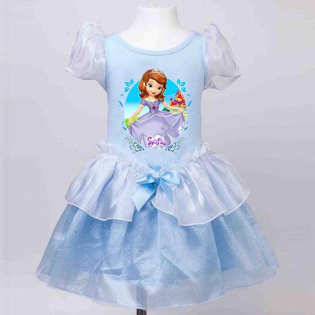 Venta caliente de manga corta impresa de dibujos animados de cumpleaños de la princesa vestidos para niños niños bebé infantil vestidos de verano