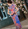 Fashion Vintage Evening dress Short sleeve long cheongsam dress chinese traditional dress qipao evening dresses gown