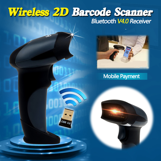 Free Shipping! EY-002 2D Wireless Barcode Scanner Bluetooth 2D Barcode Scanner QR Code Reader PDF417 Scanner Android IOS Mobile