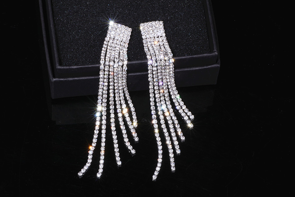 HTB1cvsdXkfb uJkSnaVq6xFmVXa0 - New Silver Color Rhinestone Crystal Long Tassel Earrings for Women Bridal Drop Dangling Earrings Brincos Wedding Jewelry WX006