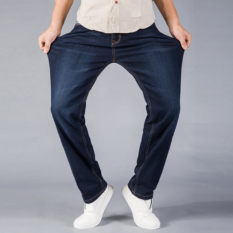 2019 New Casual Jeans Men Fashion Business Stretch Straight Denim Trousers Pants Male Plus Size 40 42 44