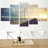 Sunset Scenery Oil Painting Set Sun Frameless Pictures Art Poster Wall Home Decoration For Room Wall