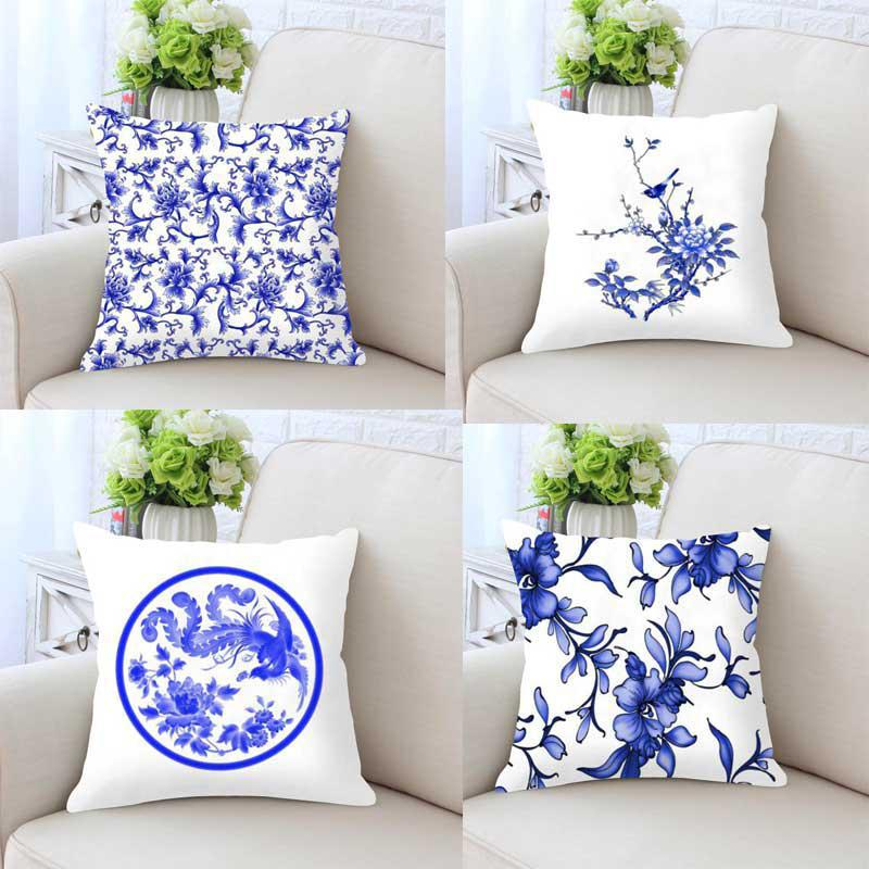 Chinese Style Cushion Cover Blue And White Porcelain Pillow Case Peacock Phoenix Flower Print Decoration For Home Accessories