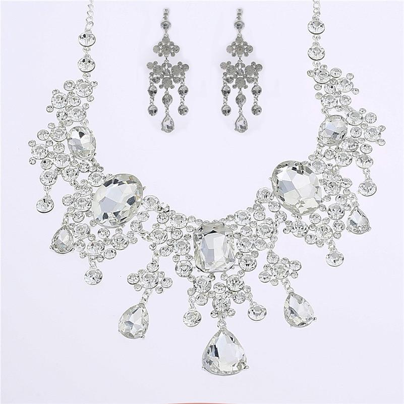 Women Rhinestone Jewelry Sets Pendant Necklace Earrings High Grade Bride Trendy Fashion Queen Wedding Dress Accessories XL004