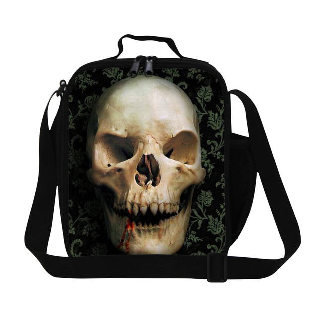 Skull Pattern Children Lunch Bag Lancheira Termica Thermal Bag Small Insulated Travel Picnic Cooler Shoulder Carry Bag Lunch Box