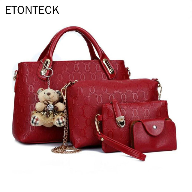 f3c35fd5c86b ... для женщин мессенджеры женские сум. 2019 Fashion Women Bag 4 Pcs Set PU  Leather Composite Bag Top Handle Bags For Female