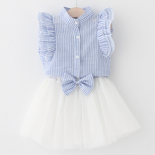 Kids baby Girls Clothing Sets 2018 New Summer Fashion Style Cartoon Kitten Printed T-Shirts+Net Veil Dress 2Pcs Girls Clothes