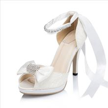 New Hot Selling Women Lace Satin Shoes White Ivory Bowtie Sandals For Weddings Lace UP Bridal Shoes High Heels JYG117
