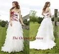 Белый и Красный Кружевной Цветок Готический Свадебное Платье 2017 Свадебные Платья novia Милая Рюшами Из Органзы Свадебные Платья