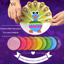 Fopcc Creative DIY Paste Material Package Baby Kindergarten Children Handmade Paper Plate Painted Toys