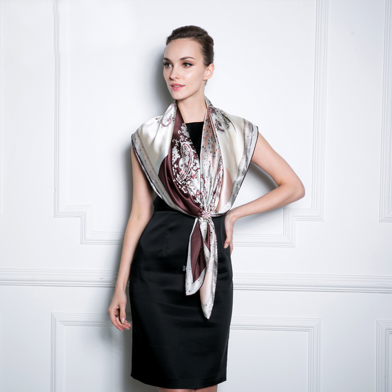Square Silk Scarves 2016 Ultralarge Spring And Summer Silk Scarf New Coffee Women Luxury Silky Satin Scarves Fashion Accessories