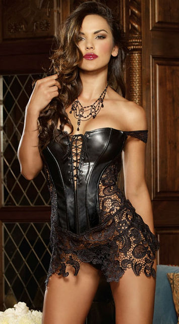 820c71ef8b3fb US $13.59 20% OFF|Vocole Women Steampunk Sexy Faux Leather Burlesque Corset  Dress Sexy Lingerie Lace Up Bustier Cosselet Plus Size S 6XL-in Bustiers &  ...