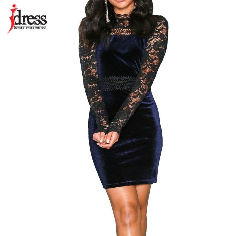 IDress   Women Velvet Dress 2019 Bodycon Bandage Dress Black Tight Robe  Noire Femme Court Sexy Long Sleeve Winter Party Dresses-in Dresses from  Women s ... f3dfedee36ac