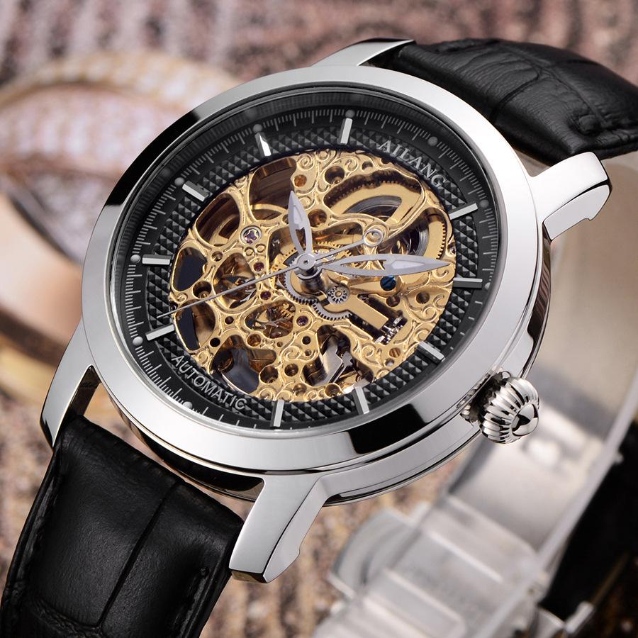 Original AILANG Brand Men Hollow Automatic Watches Self Wind Businessmen Dress Wrist watch Full Steel Analog