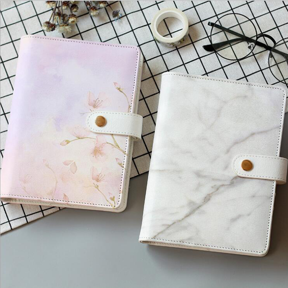A6 High-quality Elegant Faux Leather Spiral Cover Of Notebook Cute Lovely Cat Flowery Loose Leaf Binder Of Planner