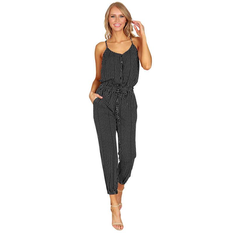 6f5b8a6c6dc92 Romacci Women Plus Size Jumpsuit Striped Buttons Spaghetti Strap Sleeveless  Overalls Elastic Drawstring Casual Summer Romper