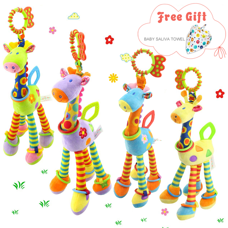 Crib Hanging Toys For Babies Soft Animals Giraffe Rattle Bell Stroller Toys For Kids Teether Early