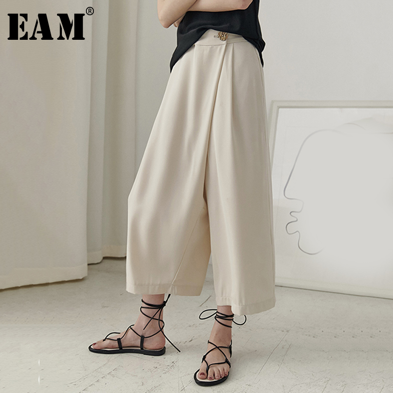 [EAM] 2019 New Spring Summer High Elastic Waist Black Button Leisurre   Wide     Leg   Loose   Pants   Women Trousers Fashion Tide JU512