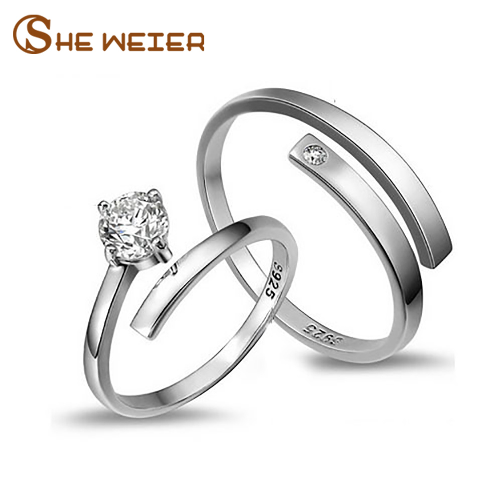 SHE WEIER engagement rings men for women anel female gifts couple male finger ring zirconer silver element adjustable metal