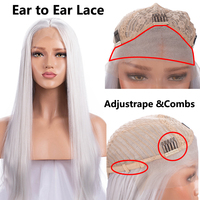 FANXITON Synthetic Lace Front Wig Straight Synthetic Wig Long Lace Front Wigs For Women White Wig 130% High Temperature Fiber