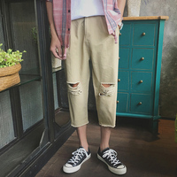 2017summer Men Casual Pants Korean Version Of The Knee Broken Holes Water Seven Points Small Trousers