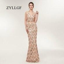 ZYLLGF Floor-length Mermaid Sexy Low Back Halter Dresses