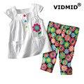 1-6Y meninas conjunto de roupas de bebê menina veste ternos para meninas de verão t-shirt + calças roupa das crianças para o bebê flor de algodão