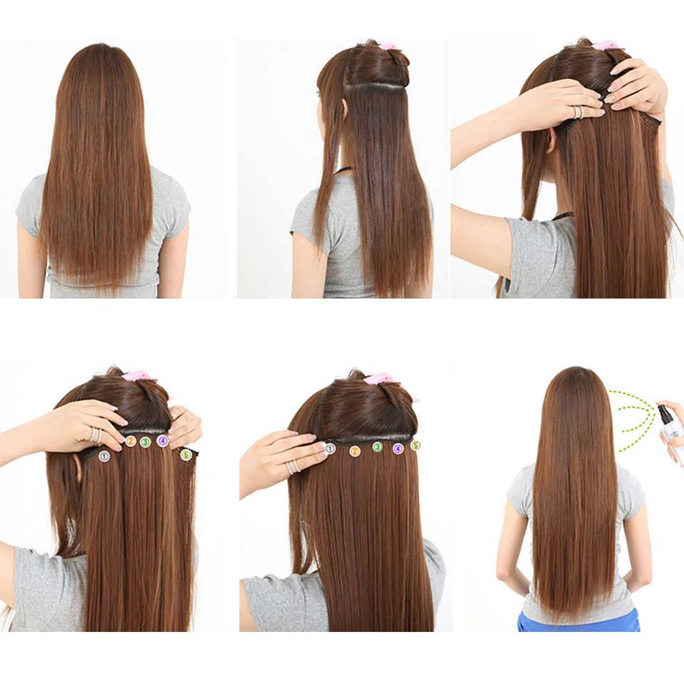 Difei 24 Inch 5 Clip Lang Krullend Vrouwen Clip In Hair Extensions Zwart Bruin Hoge Tempreture Synthetisch Haar Stuk