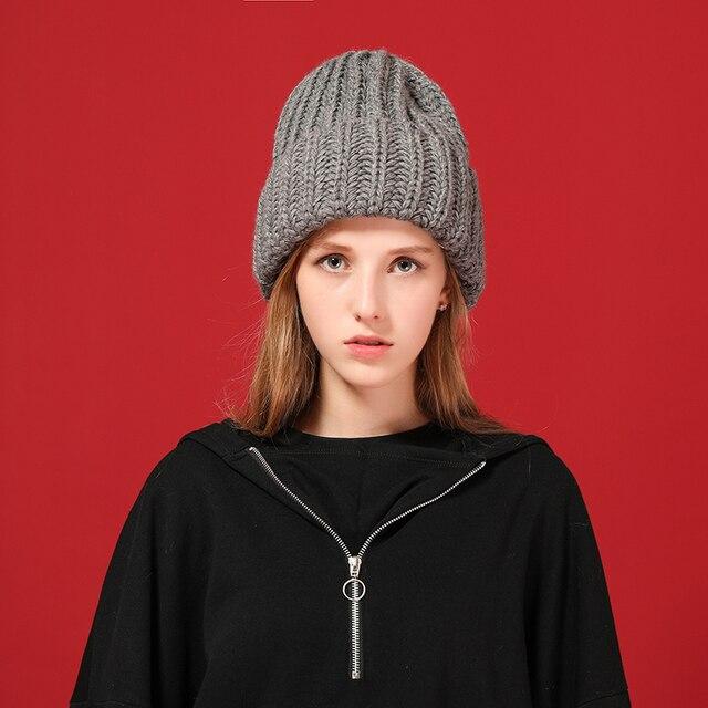 [FLB] Knitting wool ball skullies beanies Casual streetwear Thick warm hat cap Women autumn winter 2020 cute beanie hat 17042 1