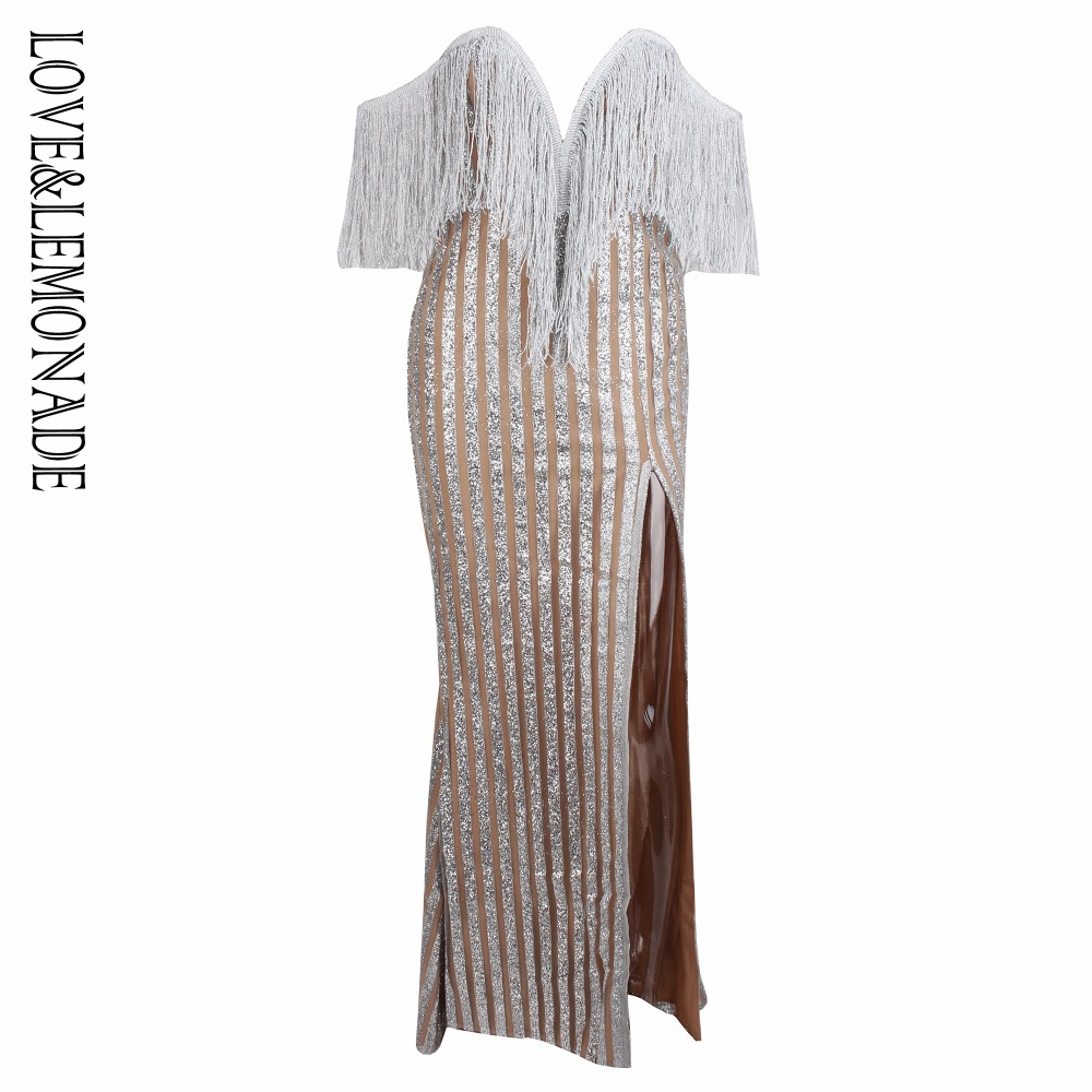 Love Lemonade Gold Stripes Deep V Collar Tassels Decorated Long Dresses  LM0666-in Dresses from Women s Clothing   Accessories on Aliexpress.com  6a68fca8f8b2