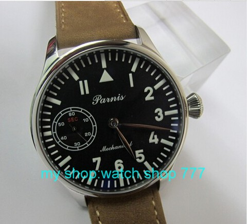 2016 new fashion 44mm PARNIS pilot blue dial 6498 Mechanical Hand Wind movement High quality men