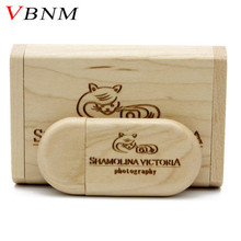 VBNM Customize LOGO Wooden USB flash drive pen drives Maple wood+Packing box 4GB 8GB 16GB 32GB memory stick  personal Gift