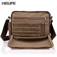 MELIFE Vintage Men S Messenger Bags Canvas Shoulder Bag Fashion Men Business Crossbody Bag Student Printing