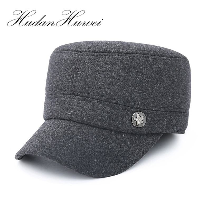 123e3399d23c1 Men Woolen Felt Military hats Army Cap Plain Dad Hat Autumn Winter Copper  Star Logo Thicken Keep Warm Flat Cap with Earmuffs -in Military Hats from  Apparel ...