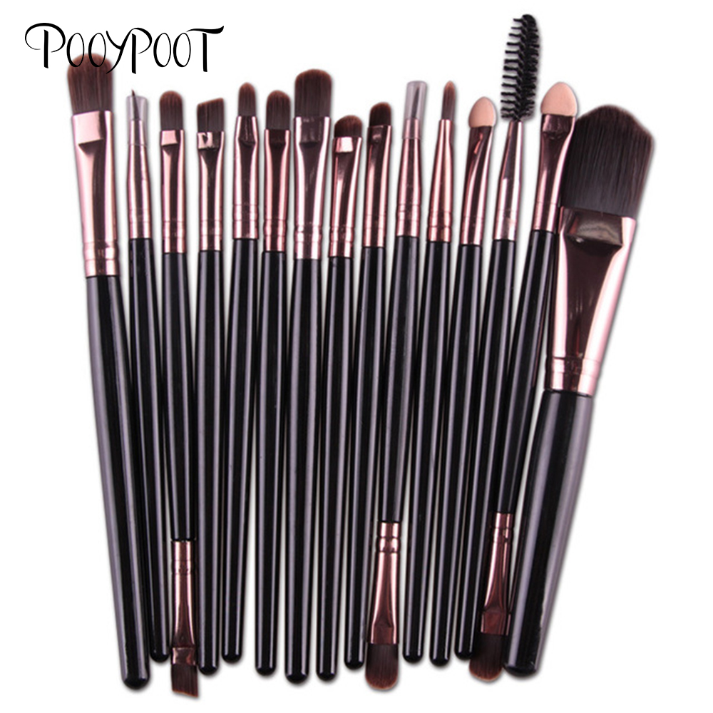 Pooypoot Pro 15 pcs / Sets Make Up Brush Set Eye Shadow Yayasan Alis Kuas Makeup Alat Kosmetik Kit untuk Makeup
