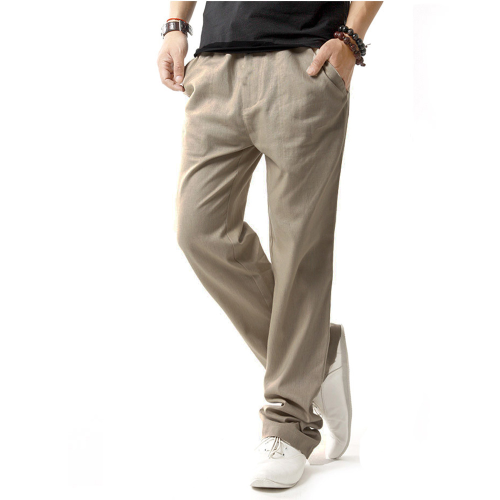 8d8eb6c8e268 Men s Summer Casual Pants Natural Cotton Linen Trousers White Linen Elastic  Waist Straight Pants Y251