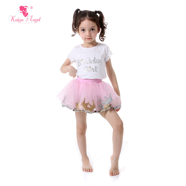 Baby Girl Birthday Clothes Crown Tulle Skirt Kids Toddler Clothing Gold Silver