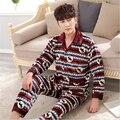 Roupas de inverno Pijama de Flanela terno dos homens clássicos Casuais estilo Coral cashmere roupas Casa Grande tamanho