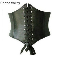 ChenaWolry Classics Fashion Accessory Brand New PU Leather Womens Ladies Wrap around Tie Corset Cinch Waist Wide Belt Oct 12